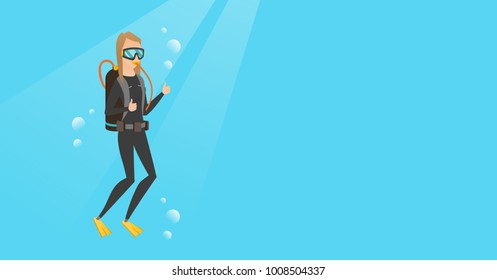 Young caucasian white woman in diving suit swimming underwater with scuba and showing thumb up. Scuba diver giving thumb up. Woman enjoying the dive. Vector cartoon illustration. Horizontal layout.