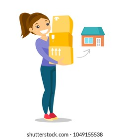 Young caucasian white woman moving to a new house and carrying boxes. New homeowner holding cardboard boxes. Vector cartoon illustration isolated on white background. Square layout.