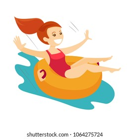 Young caucasian white woman on rubber ring riding down a waterslide at the aquapark. Happy woman having fun on a water slide in waterpark. Vector cartoon illustration isolated on white background.