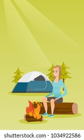 Young caucasian white woman sitting on a log near campfire on the background of camping site. Travelling woman resting near campfire in the campsite. Vector cartoon illustration. Vertical layout.