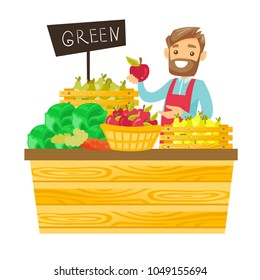 Young caucasian white worker of grocery store standing in the section with vegetables and fruit. Male seller offering fresh organic food. Vector cartoon illustration isolated on white background.