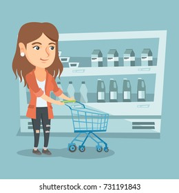 Young caucasian woman pushing an empty supermarket trolley. Woman shopping in the supermarket with a trolley. Woman walking with trolley in the supermarket. Vector cartoon illustration. Square layout.