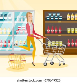 Young caucasian woman pushing a shopping trolley. Happy woman running with an empty shopping trolley in the store. Concept of shopping. Vector flat design illustration. Square layout.