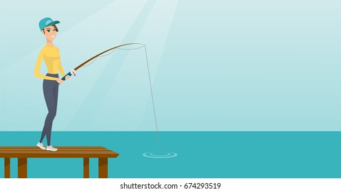 Young caucasian woman relaxing during fishing on jetty. Cheerful fisherwoman fishing on lake. Angler standing on the jetty with fishing-rod in hands. Vector flat design illustration. Horizontal layout