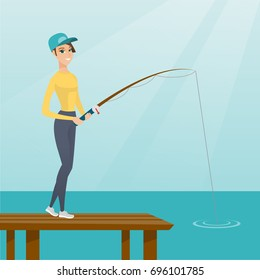 Young caucasian woman relaxing during fishing on jetty. Cheerful fisherwoman fishing on lake. Angler standing on the jetty with a fishing-rod in hands. Vector flat design illustration. Square layout.