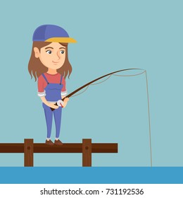 Young caucasian woman relaxing during fishing on jetty. Cheerful fisherwoman fishing on lake. Angler standing on the jetty with a fishing-rod in hands. Vector cartoon illustration. Square layout.