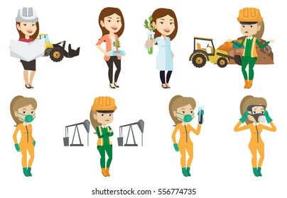Young caucasian worker of rubbish dump standing with spread arms. Woman standing on the background of rubbish dump and bulldozer. Set of vector flat design illustrations isolated on white background.