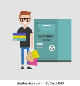 Young character holding a pile of used clothes. Clothing bank. Recycling. Container. Donation. Flat editable vector illustration, clip art