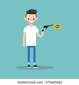 Young character holding a toy gun with a bang flag / flat editable vector illustration, clip art
