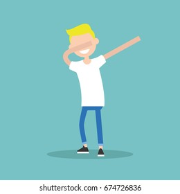 Young character making DAB dance / flat editable vector illustration, clip art
