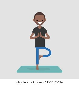 Young character practicing yoga. Relaxation. Meditation. Mental health. Lifestyle. Flat editable vector illustration, clip art