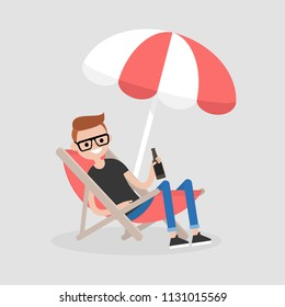 Young character sitting in a chaise lounge under the beach umbrella and drinking beer. Vacation. Summer. Weekend. Outdoor. Flat editable vector illustration, clip art