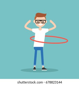 Young character twirling a hoop around the waist / flat editable vector illustration, clip art