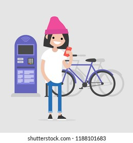 young character using a mobile bike rental application urban transport system flat editable vector