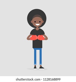 Young character wearing the red boxer gloves. Defence concept. Flat editable vector illustration, clip art