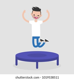 Young cheerful character jumping on the trampoline. Active leisure. Flat editable vector illustration, clip art