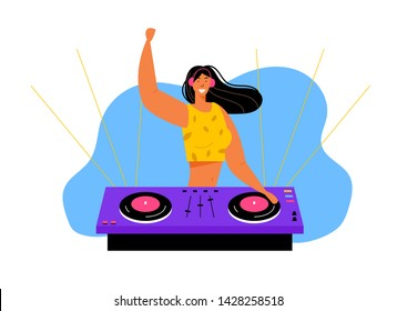 Young Cheerful Girl Dj Remixing Music on Midi Controller at Night Disco Club Party. Playing Music, Multimedia, Youth Lifestyle, Nightlife and Entertainment Concept, Cartoon Flat Vector Illustration