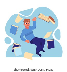Young cheerful man in casual clothing flying in blue cloud with a lot of books, papers and documents. Accessibility of information concept. Male happy man reading and studying. Vector illustration