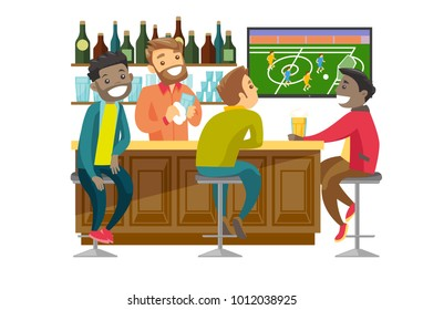 Young cheerful multiethnic people drinking beer and watching football match in the bar. Happy friends with beer in sport bar. Vector cartoon illustration isolated on white background. Square layout.