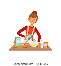 Young cheerful woman mixing dough with mixer, housewife girl cooking food in the kitchen flat vector Illustration