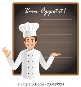 Young chef with a blank blackboard to list today's menu or chef's special menu. This is a vector file with NO transparencies. Similar occupation vectors in my portfolio.