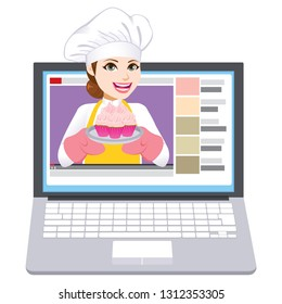 Young chef woman making video blog holding tray with strawberry cupcakes
