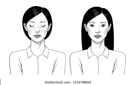 Young Chinese girl with beauty mask. Skin care, Hydrogel Eye Patch. Lifting mask for the skin around the eyes. Vintage prints stylized drawing. Vector illustration.
