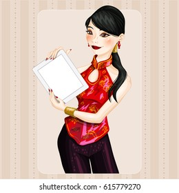 Young chinese woman holding a board. Isolated vector character.