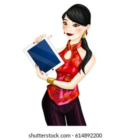 Young chinese woman holding a mobile device. Isolated vector character.
