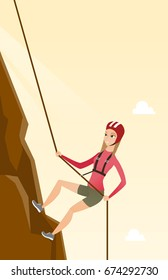 Young climber in protective helmet climbing a mountain. Caucasian smiling woman climbing a mountain with a rope. Sport and leisure activity concept. Vector flat design illustration. Vertical layout.