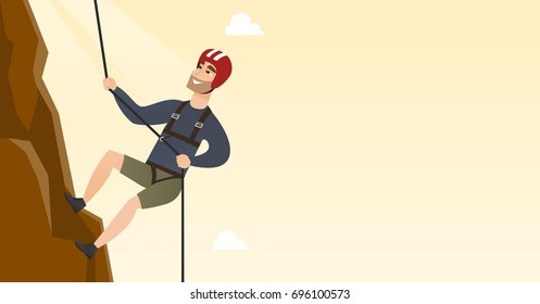 Young climber in protective helmet climbing a mountain. Caucasian smiling man climbing a mountain with a rope. Sport and leisure activity concept. Vector flat design illustration. Horizontal layout.