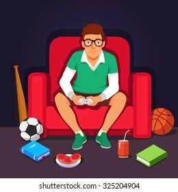 Young college student hipster playing video games sitting in big armchair.  Flat style vector illustration isolated on dark background.