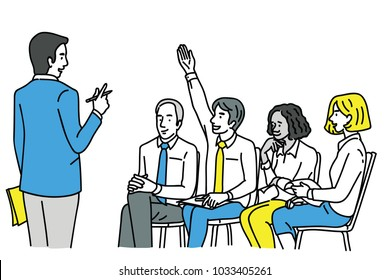 Young confident businessman, raising hand to ask question at workshop or training. Diversity, multi-ethnic. Outline, linear, thin line art, hand drawn sketch design.