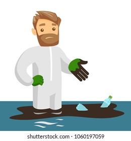 Young confused caucasian white male scientist standing in water with oil spill and plastic bottles. Water, plastic and oil pollution concept. Vector cartoon illustration isolated on white background.