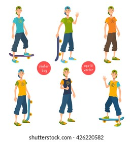 Young cool boy stand in cap and shorts. Extreme sport, lifestyle, active leisure. Vector flat isolated cartoon illustration set. Boy smiling and waving hand. Teen show thumb up, hold the skateboard.