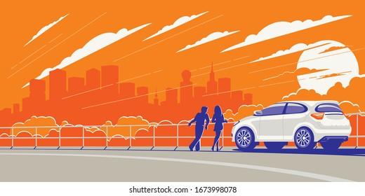 The young couple arrived in a new white car outside the city to admire the modern urban view in the rays of sunset.