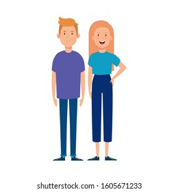 young couple avatar character icons vector illustration design