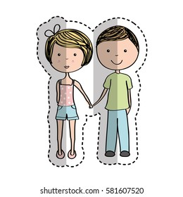 young couple avatars drawing