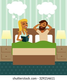 Young couple in bed vector illustration