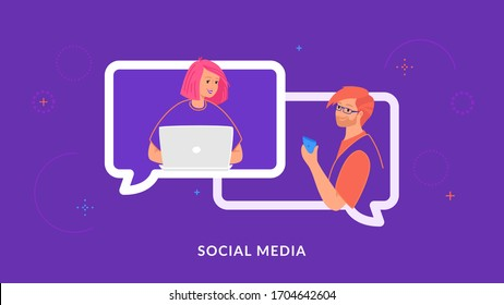 Young couple chatting and texting together in social media using laptop and smartphone. Flat line vector illustration of people in speech bubbles of chat, communication and online conference on purple