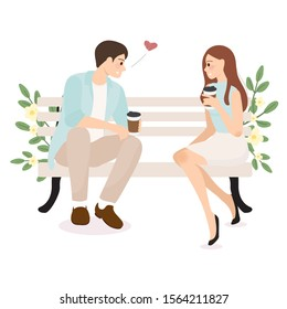 young couple confession while having coffee wedding or valentines day concept eps10 vectors illustration