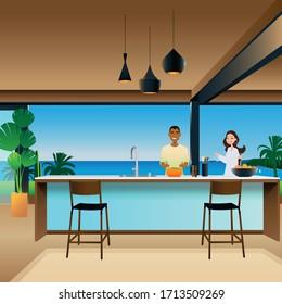 jeune couple cuisinant dans une cuisine design. Illustration vectorielle du design intérieur. Cuisine accueillante.