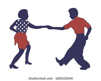 Young couple dancing jazz swing isolated on white background.Clothes print polka dots.Vintage vector style 1950s,1960s. Realistic, stylistic characters. Rockabilly,charleston, lindy hop,boogie woogie.
