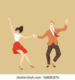 Young couple dancing lindy hop, vector illustration in cartoon style