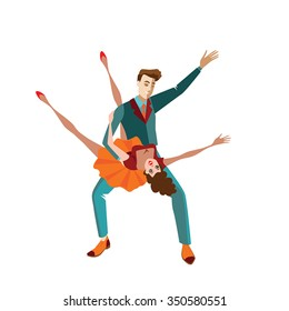 Young couple dancing rock 'n' roll, vector illustration in a  cartoon style
