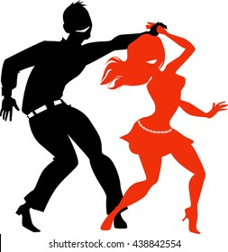 Young couple dancing salsa, EPS 8 black and red vector silhouette, no white objects