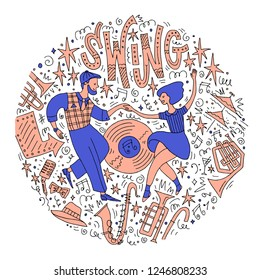 Young couple dancing swing. Handdraw doodle with musical instruments, accessories and decorative elements. Dance event, competition or retro party poster. Vector illustration.