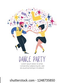 Young couple dancing swing or lindy hop. Dance event, competition or retro party poster. Template design with sample text. Vector.
