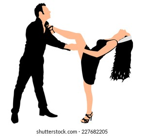 Young couple dancing tango, vector