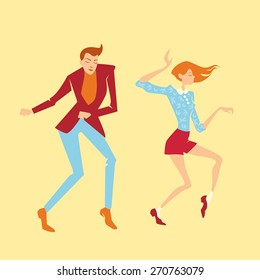 Young couple  dancing twist, vector illustration